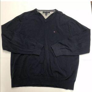 Tommy Hilfiger Mens V Neck Sweater Sz XL  Blue